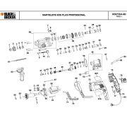 VISTA EXPLODIDA PEÇAS P/ MARTELETE BLACK & DECKER KD975KA B2 TIPO 1 - 220V