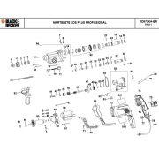 VISTA EXPLODIDA PEÇAS P/ MARTELETE BLACK & DECKER KD975KA BR TIPO 1 - 110V