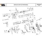 VISTA EXPLODIDA PEÇAS P/ MARTELETE BLACK & DECKER KD975KA BR TIPO 2 - 110V