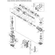 VISTA EXPLODIDA PEÇAS P/ MARTELO MAKITA HM1203C 110V 220V