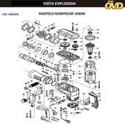 VISTA EXPLODIDA PEÇAS P/ MARTELO MARTELETE AWT H1630 - 110V 220V
