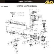 VISTA EXPLODIDA PEÇAS P/ MARTELO MARTELETE AWT H2055 - 110V 220V