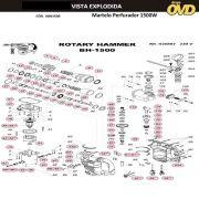 VISTA EXPLODIDA PEÇAS P/ MARTELO MARTELETE DWT BH1500BMC - 110V 220V