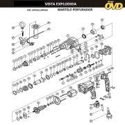 VISTA EXPLODIDA PEÇAS P/ MARTELO MARTELETE DWT MPD810 - 110V 220V