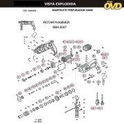 VISTA EXPLODIDA PEÇAS P/ MARTELO MARTELETE DWT SBH500T - 110V 220V