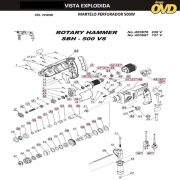 VISTA EXPLODIDA PEÇAS P/ MARTELO MARTELETE DWT SBH500VS - 110V 220V