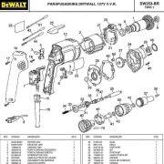VISTA EXPLODIDA PEÇAS P/ PARAFUSADEIRA DRYWALL DEWALT DW253 BR TIPO 1 - 110V
