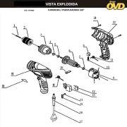VISTA EXPLODIDA PEÇAS P/ PARAFUSADEIRA ELÉTRICA AWT ED280 - 110V 220V