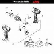 VISTA EXPLODIDA PEÇAS P/ PARAFUSADEIRA FURADEIRA À BATERIA SKIL 2212 - F012221202 - 9,6V
