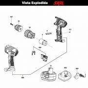 VISTA EXPLODIDA PEÇAS P/ PARAFUSADEIRA FURADEIRA À BATERIA SKIL 2511 - F012251102 - 12 V