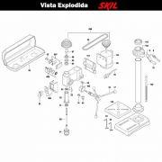 VISTA EXPLODIDA PEÇAS P/ PARAFUSADEIRA FURADEIRA À BATERIA SKIL 3320 - F012332001 - 127 V