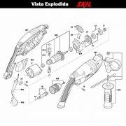 VISTA EXPLODIDA PEÇAS P/ PARAFUSADEIRA FURADEIRA À BATERIA SKIL 6070 - F012607001 - 127 V