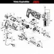 VISTA EXPLODIDA PEÇAS P/ PARAFUSADEIRA FURADEIRA À BATERIA SKIL 6570 - F012657001 - 127 V