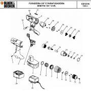 VISTA EXPLODIDA PEÇAS P/ PARAFUSADEIRA / FURADEIRA BATERIA BLACK & DECKER CD121 BR B2 TIPO 1