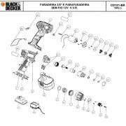 VISTA EXPLODIDA PEÇAS P/ PARAFUSADEIRA / FURADEIRA BATERIA BLACK & DECKER CD121 BR B2 TIPO 3