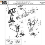 VISTA EXPLODIDA PEÇAS P/ PARAFUSADEIRA / FURADEIRA BATERIA BLACK & DECKER HP120K BR B2 TIPO 1