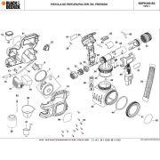VISTA EXPLODIDA PEÇAS P/ PISTOLA DE PINTURA BDPH400 B2 TIPO 1 - 220V
