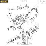 VISTA EXPLODIDA PEÇAS P/ PLAINA DEWALT DW680 B2 TIPO 2 - 220V