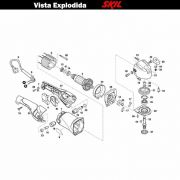 VISTA EXPLODIDA PEÇAS P/ POLITRIZ SKIL 9071 - F012907101 - 127 V