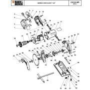 VISTA EXPLODIDA PEÇAS P/ SERRA CIRCULAR BLACK & DECKER CS1020 BR TIPO 1 - 110V
