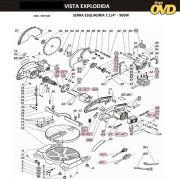 VISTA EXPLODIDA PEÇAS P/ SERRA ESQUADRIA DWT KGS190 - 110V 220V