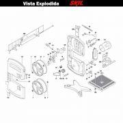 VISTA EXPLODIDA PEÇAS P/ SERRA FITA SKIL 3385 - F012338502 - 220 V