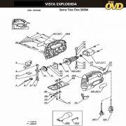 VISTA EXPLODIDA PEÇAS P/ SERRA TICO TICO DWT STS0560D - 110V 220V