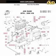 VISTA EXPLODIDA PEÇAS P/ SERRA TICO TICO DWT STS500VS - 110V 220V
