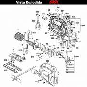 VISTA EXPLODIDA PEÇAS P/ SERRA TICO-TICO SKIL 4750 - F012475001 - 127 V