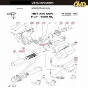 VISTA EXPLODIDA PEÇAS P/ SOPRADOR TÉRMICO DWT HLP1500KL - 110V 220V