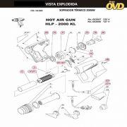 VISTA EXPLODIDA PEÇAS P/ SOPRADOR TÉRMICO DWT HLP2000KL - 110V 220V