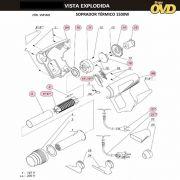 VISTA EXPLODIDA PEÇAS P/ SOPRADOR TÉRMICO DWT STD1500N - 110V 220V
