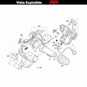 VISTA EXPLODIDA PEÇAS P/ SOPRADOR TÉRMICO SKIL 8005 - F012800501 - 127 V