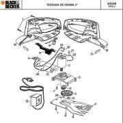 VISTA EXPLODIDA PEÇAS P/ TESOURA DE GRAMA GS300 BR TIPO 3 - 110V