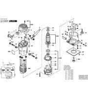 VISTA EXPLODIDA PEÇAS P/ TUPIA BOSCH GKF 600 - 3601F0A0D0 - 110V