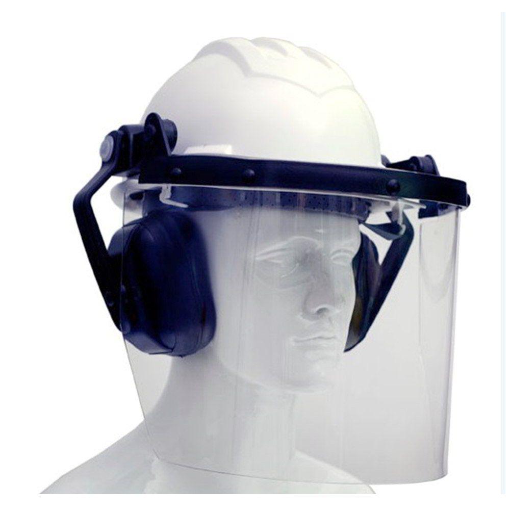 Capacete com Protetor Facial e Abafador - Com C.A - Ledan