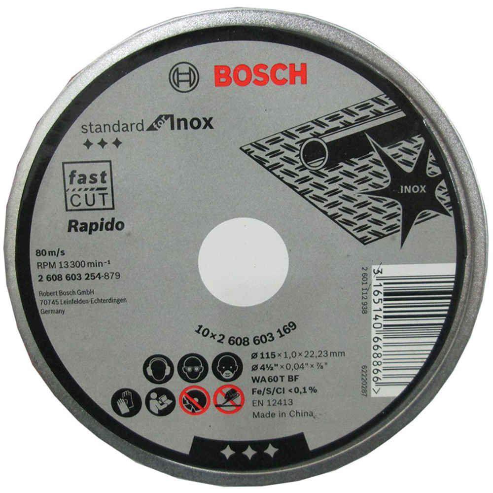Disco de Corte Inox  4.1/2 x 3/64 x 7/8 Pol. Box com 10 Discos Bosch