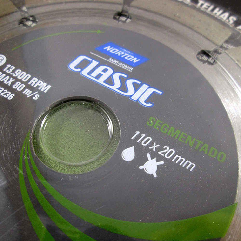 Disco Diamantado Classic Segmentado 110mm X 20mm Norton