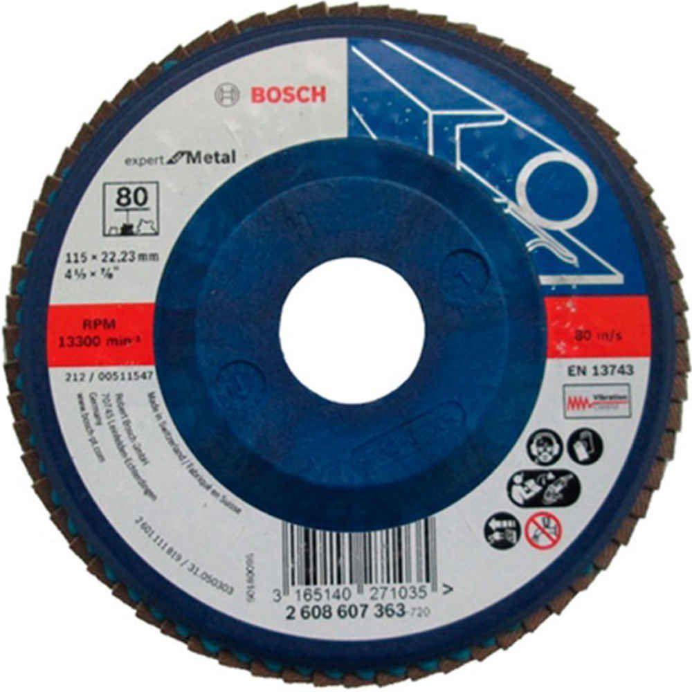 Disco Flap 4 1/2 x 7/8 Pol. Grão 40 à 120 Azul Bosch