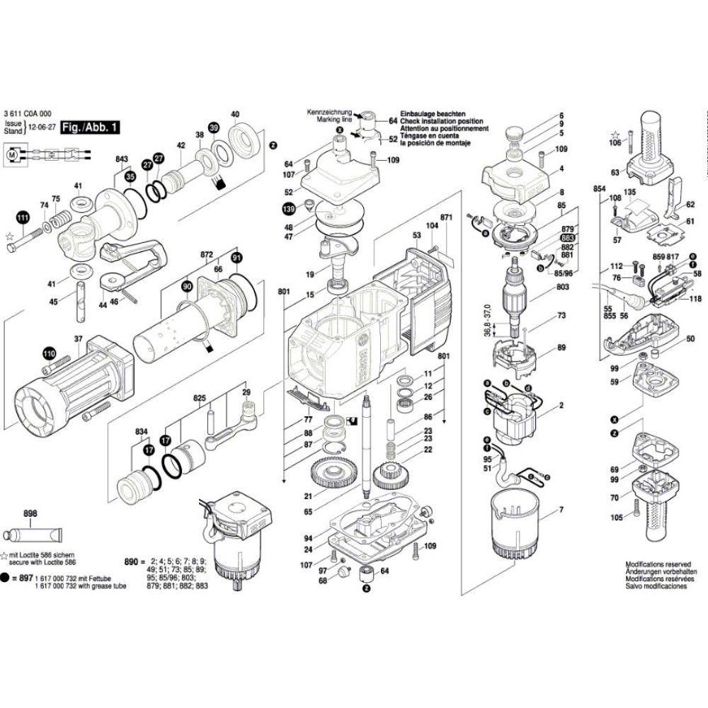 Induzido Rotor Martelete GSB 11 E Bosch 220V - 1614011139