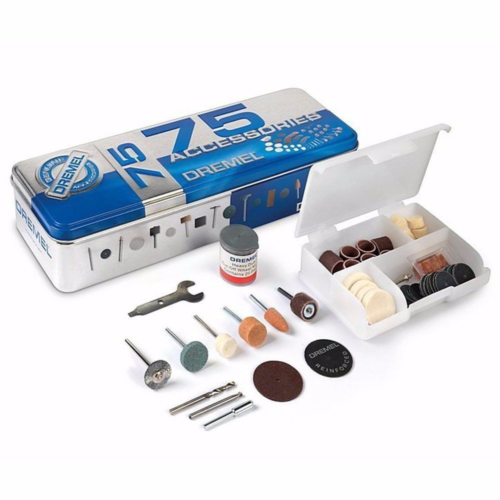 Kit 75 Peças Acessórios Dremel 707 p/Micro Retífica Dremel