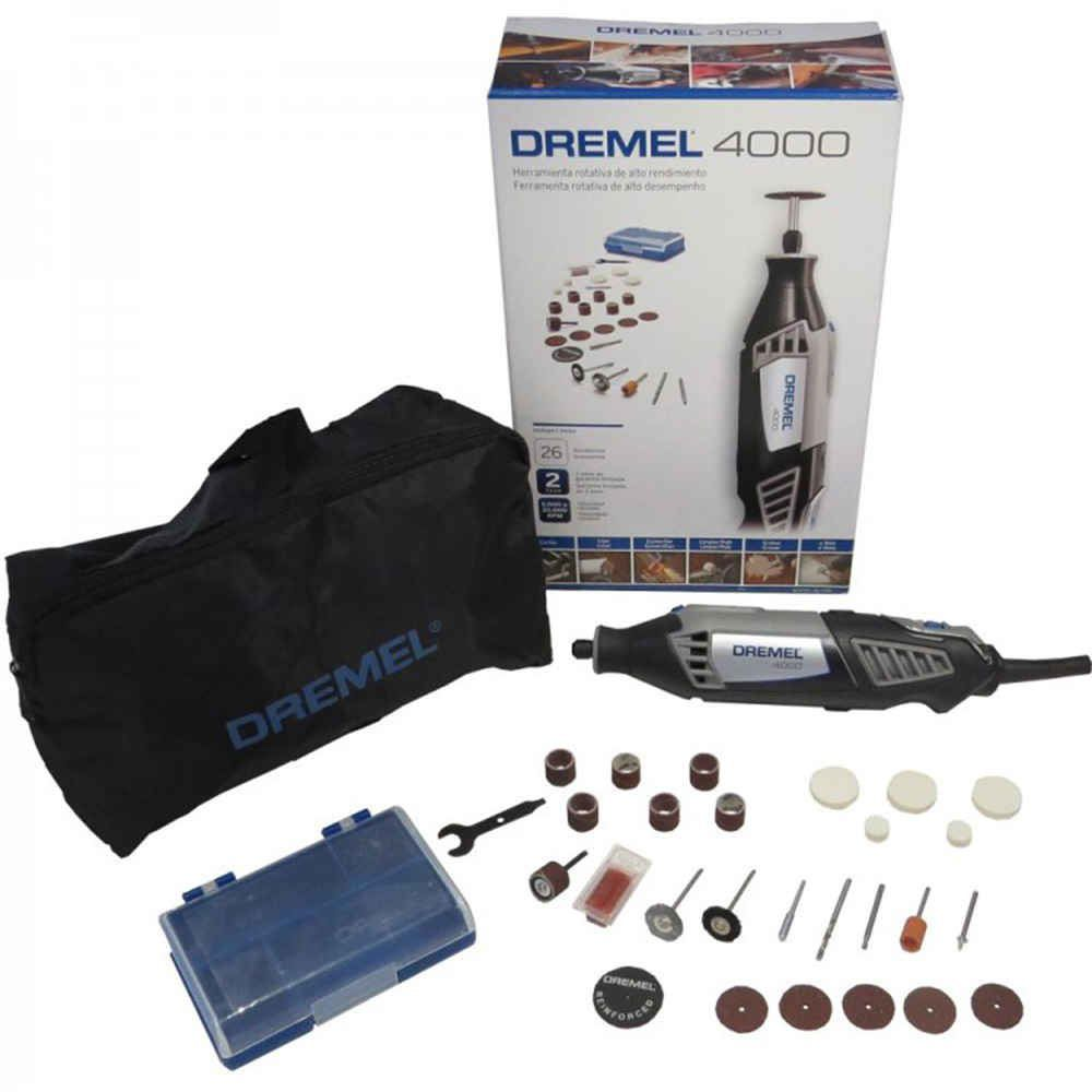 Micro Retifica Dremel 4000 Profissional 175W com Kit de 26 Acessórios Dremel