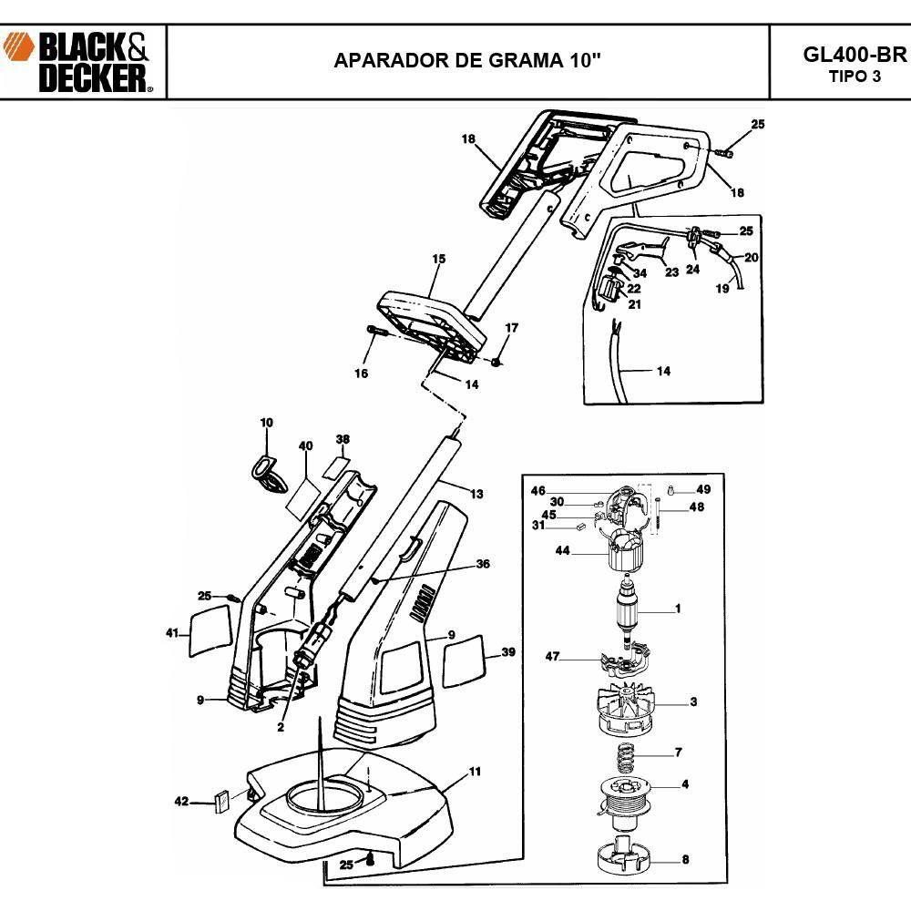 VISTA EXPLODIDA PEÇAS P/ APARADOR DE GRAMA BLACK & DECKER GL400 BR TIPO 3 - 110V