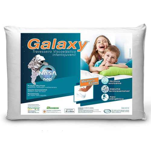Kit 2 Travesseiros Nasa Nap Galaxy Infantil Hipoalergênico