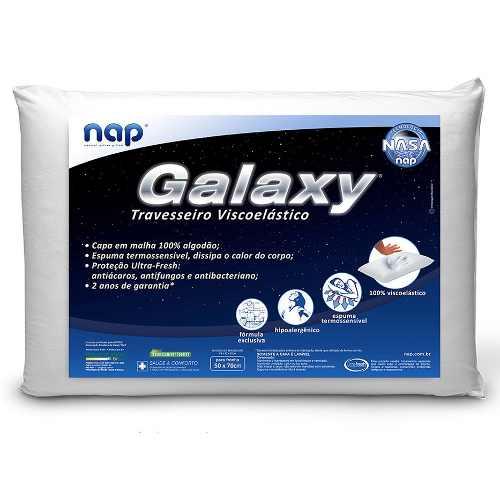Kit 4 Travesseiros Nasa Galaxy + 4 Capas Impermeáveis em Percal