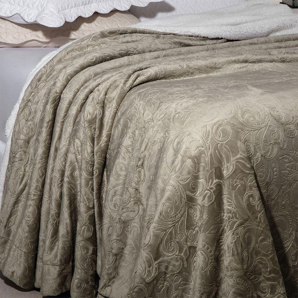 Cobertor Soft Flannel Sherpa Queen Vermont Rozac - Caqui