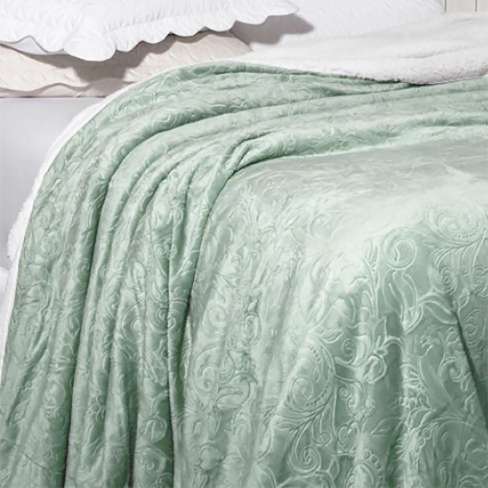 Cobertor Soft Flannel Sherpa Queen Vermont Rozac - Verde