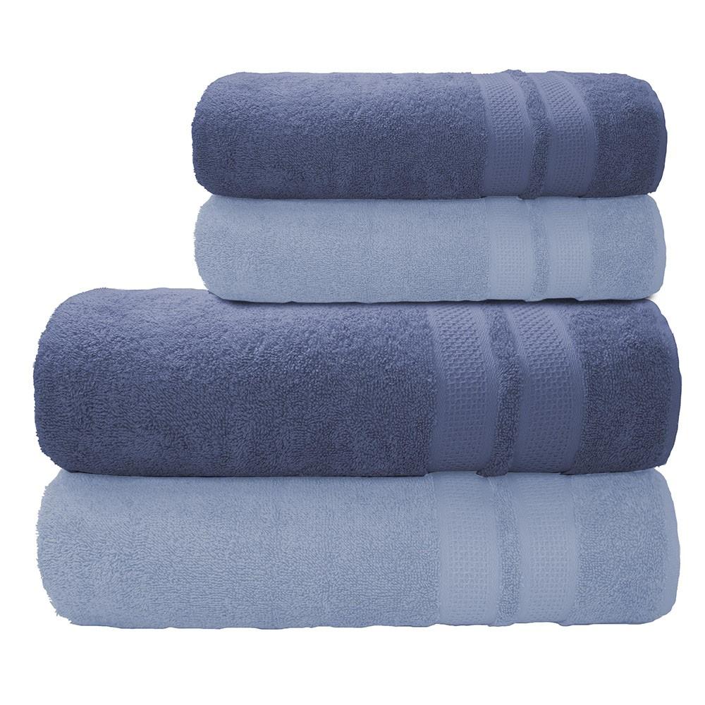 Jogo de Toalha Banhão Neo Allure Azul Claro e Escuro 4 peças
