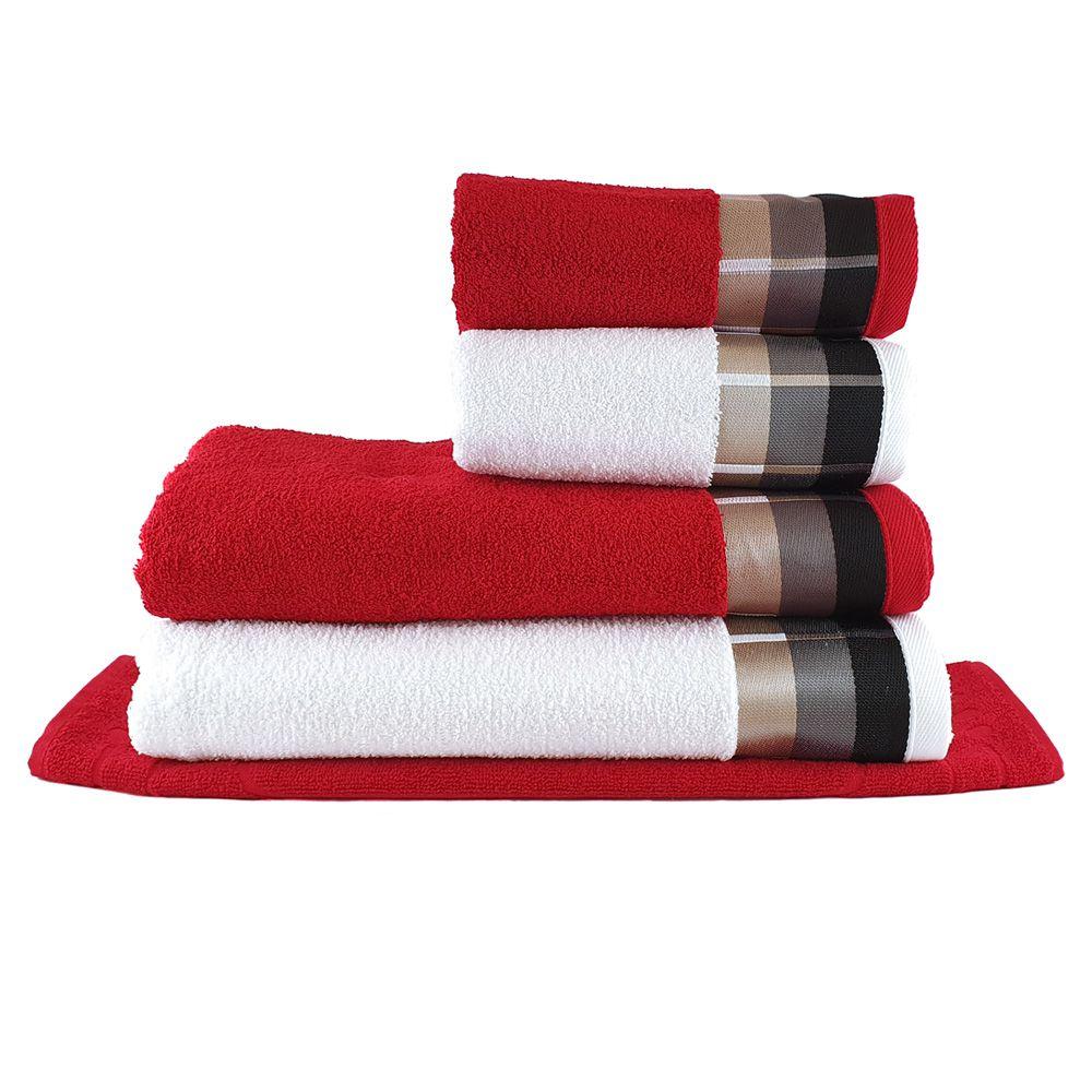 Jogo de Toalhas Banhão Corato Branco e Vermelho 5 pçs - Sisa