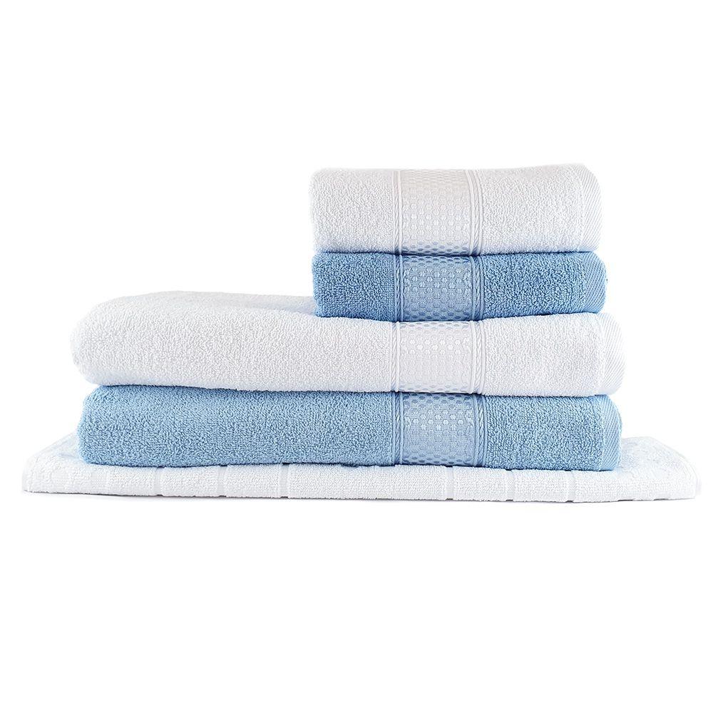 Jogo de Toalhas Banhão Gleyce Azul e Branco 5 pçs - Sisa